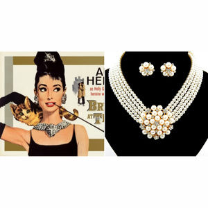Audrey Style Pearl Crystal Costume Necklace Set